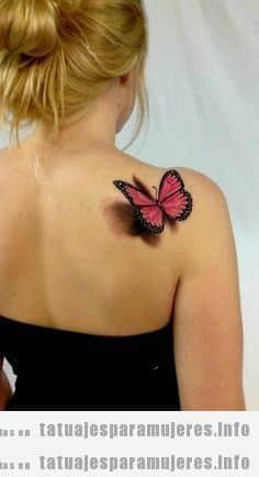 Tatuajes para mujeres, mariposa efecto 3D en el hombro