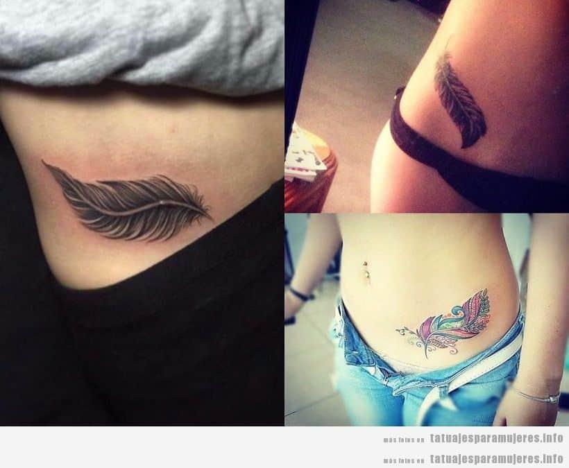 Tatuajes para mujer en la cadera, plumas
