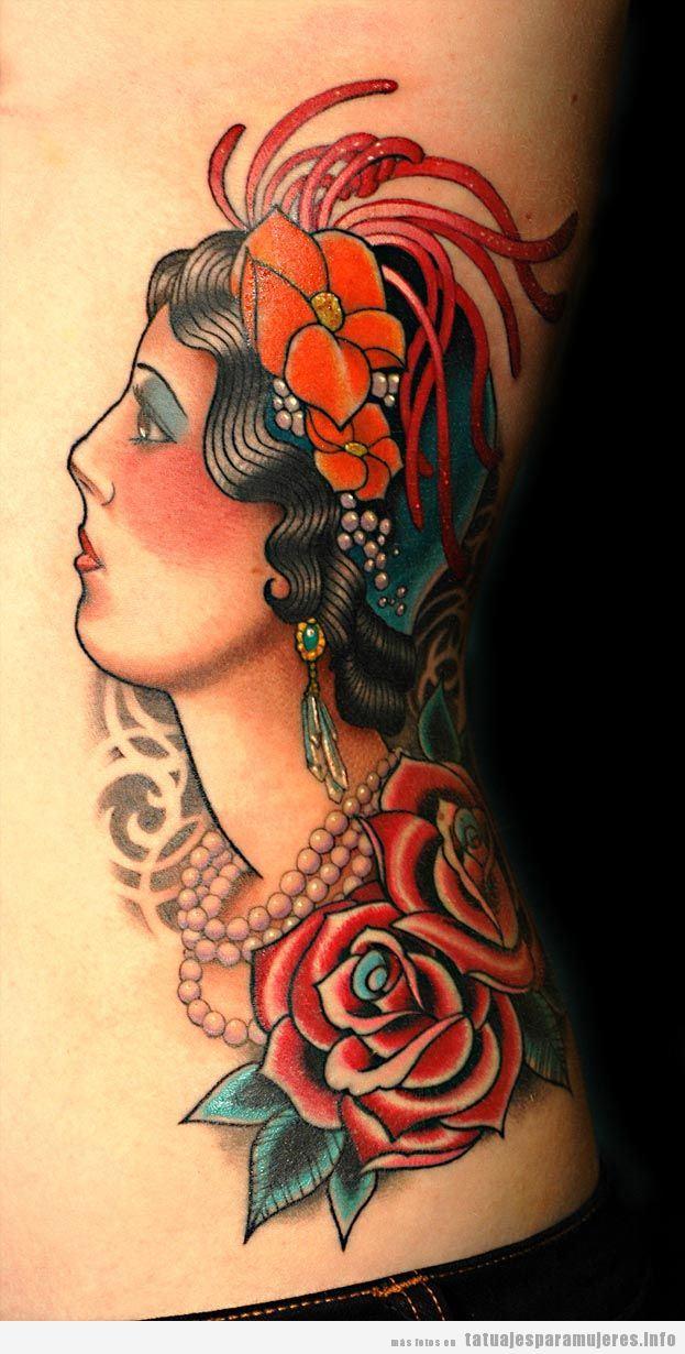 Tatuaje de la cara de una mujer estilo años 20 old school
