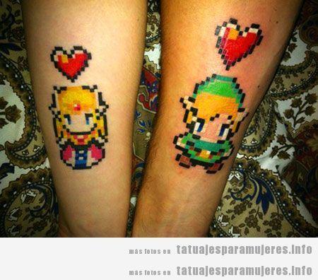 Tatuaje friki del videojuego Zelda para mujer