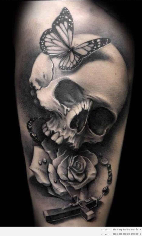 Diseño de tatuajes oscuros y góticos para mujer, calavera 2