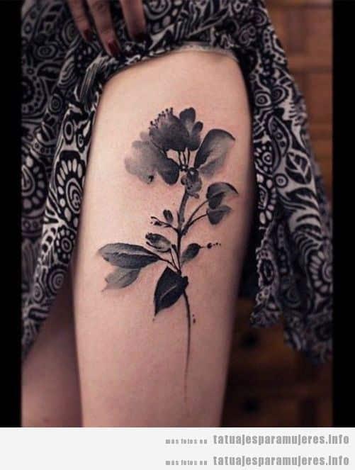 Diseño de tatuajes oscuros y góticos para mujer, flores negras 3
