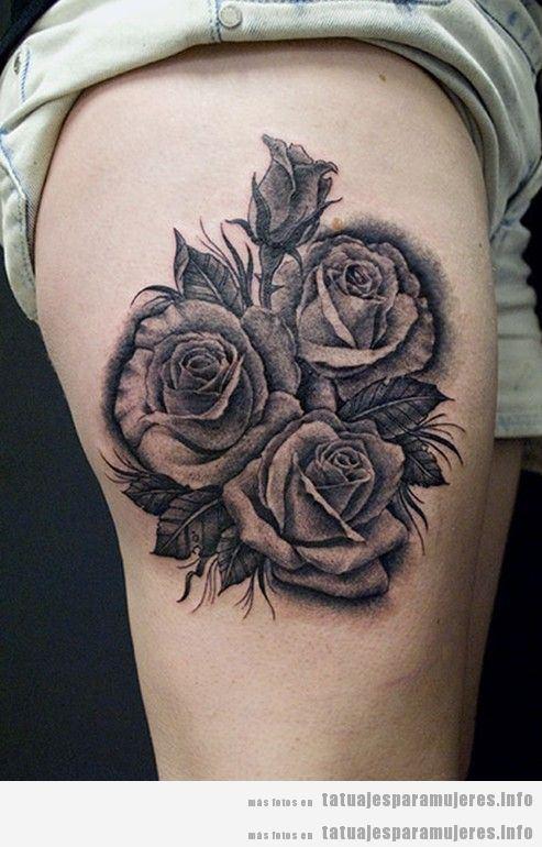 Diseño de tatuajes oscuros y góticos para mujer, flores negras 2