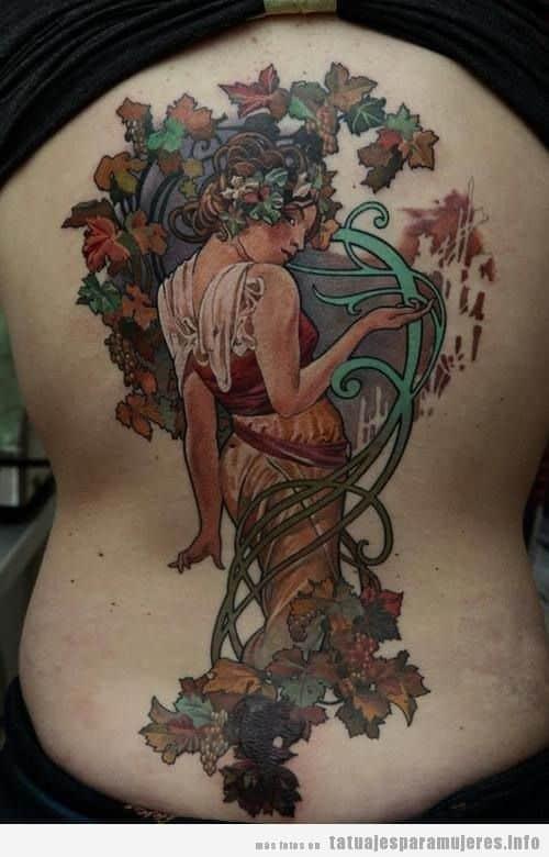 Tatuaje inspirado en obra de arte de Alfons Mucha
