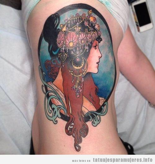 Tatuaje inspirado en obra de arte de Alfons Mucha 2