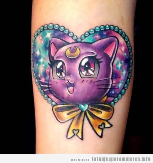 Tatuajes Sailor Moon gato Luna