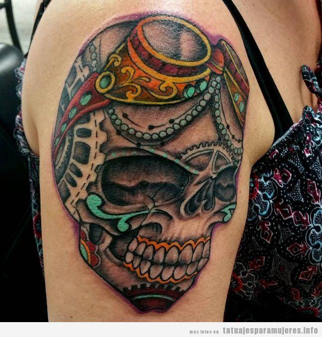 Tatuajes steampunk mujeres, calavera