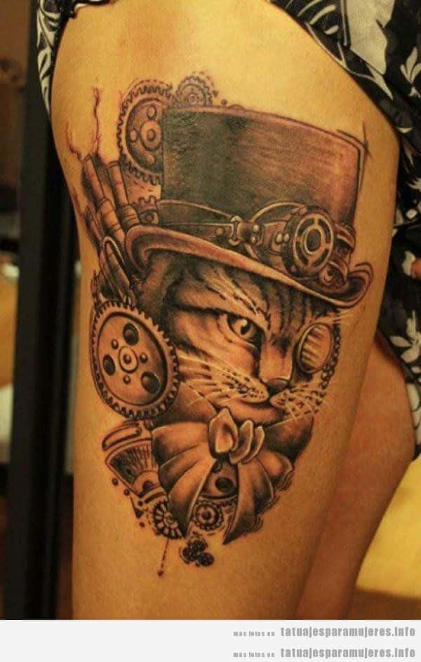 Tatuajes steampunk mujeres, gato sombrero