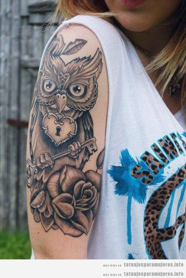 Tatuaje búho para mujer en el brazo 3