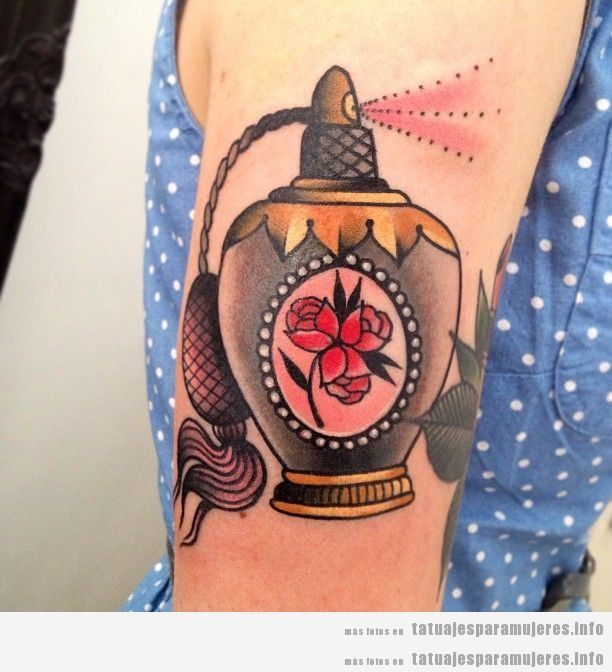 Tatuajes De Botellas De Perfume Estilo Old School Para Mujer