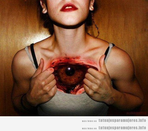 Diseño tatuajes realistas para mujer, efecto piel desgarrada 2