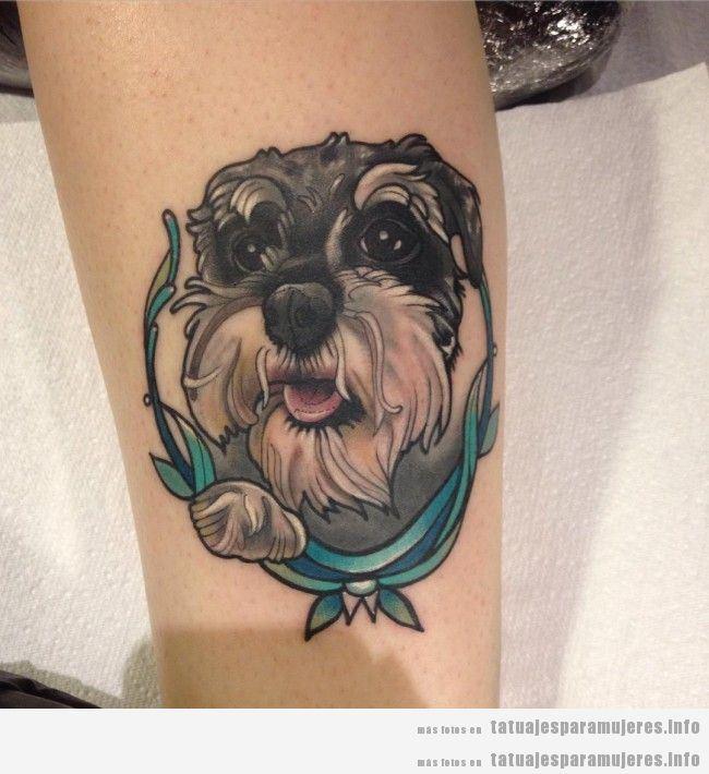 Diseños de tatuajes bonitos de perros para mujer 9