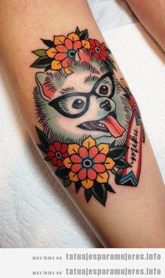Diseños de tatuajes bonitos de perros para mujer