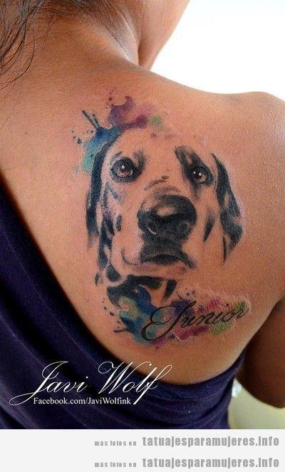 Diseños de tatuajes bonitos de perros para mujer 8