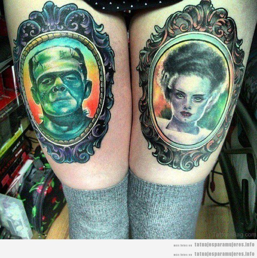Tatuajes en el muslo con retratos de Frankenstein y novia en enmarcado
