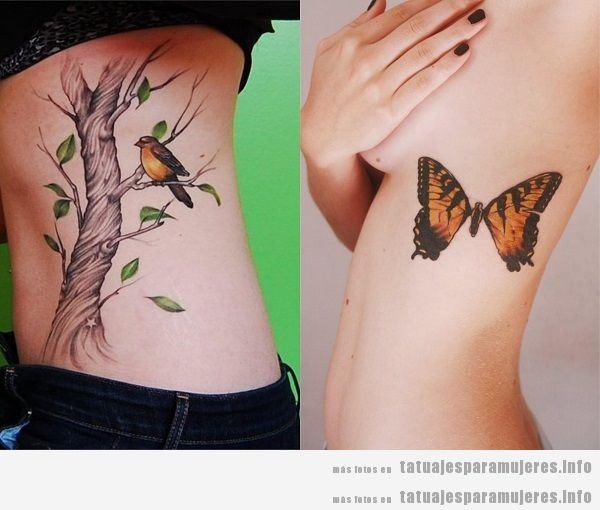 Tatuajes para mujeres en el costado. animales 2