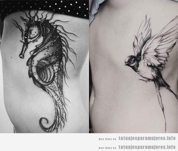 Tatuajes para mujeres en el costado. animales 3