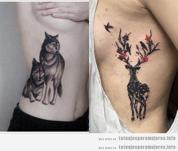 Tatuajes para mujeres en el costado. animales 4