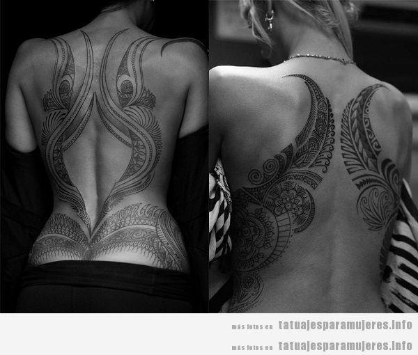 Tatuajes para mujeres en la espalda, tribales grandes 2