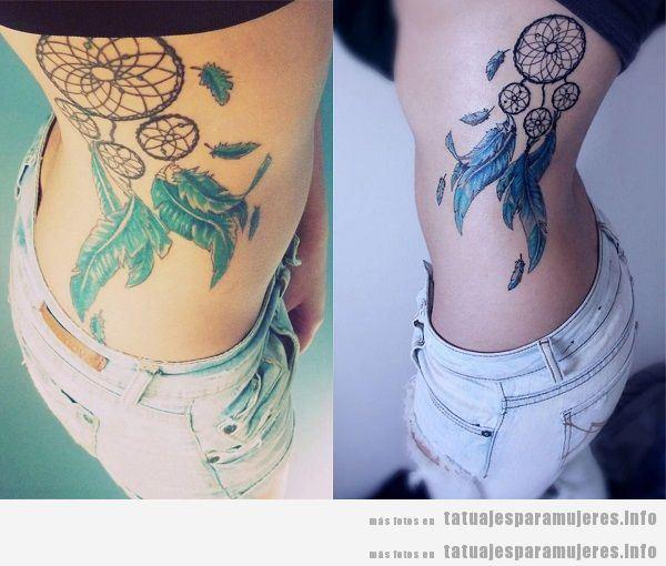 Tatuajes para mujeres en el costado atrapasueños