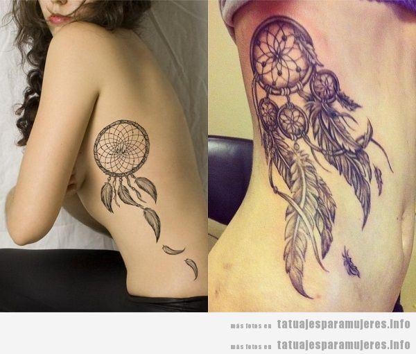 Tatuajes para mujeres en el costado atrapasueños 2