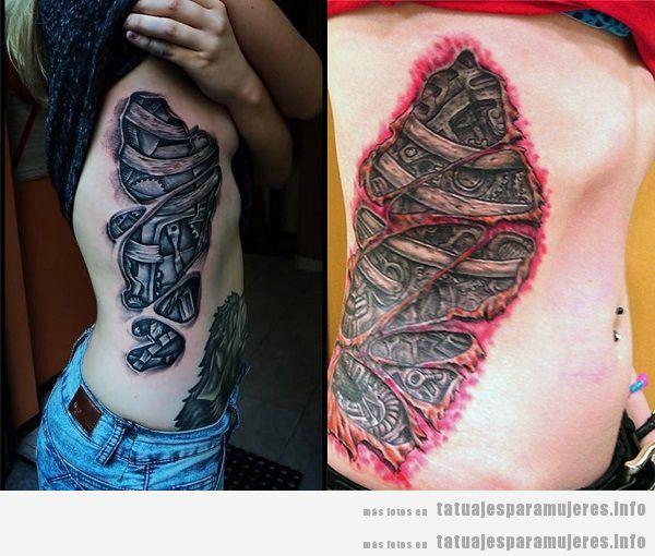 Tatuajes para mujeres en el costado biomecánicos