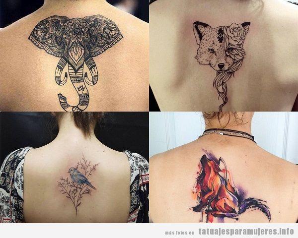 Tatuajes en la espalda para mujer, diseños de animales
