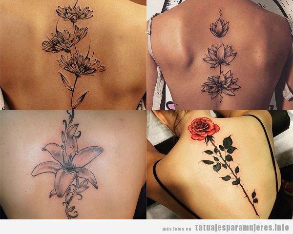 Tatuajes en la espalda para mujer, diseños de flores