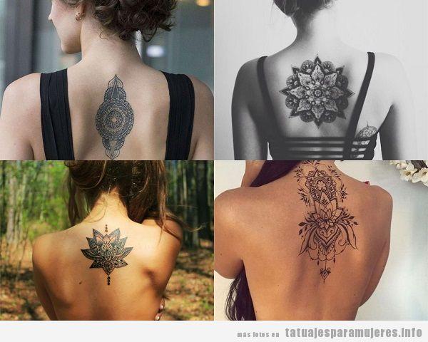 Tatuajes en la espalda para mujer, diseños de mandalas