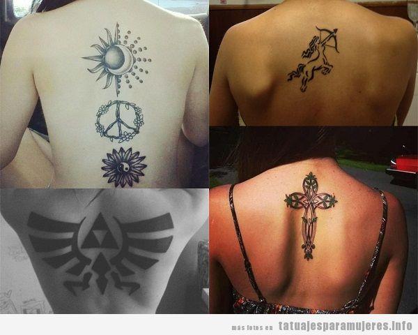 Tatuajes en la espalda para mujer, diseños de símbolos