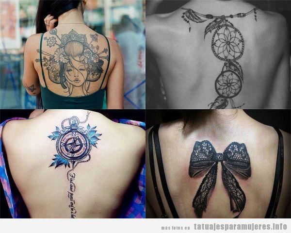 Tatuajes en el centro de la espalda para mujer