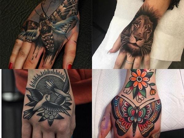 Tatuajes en la mano para mujer diseño de animales
