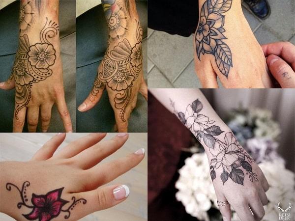 Tatuajes en la mano para mujer diseño de flores