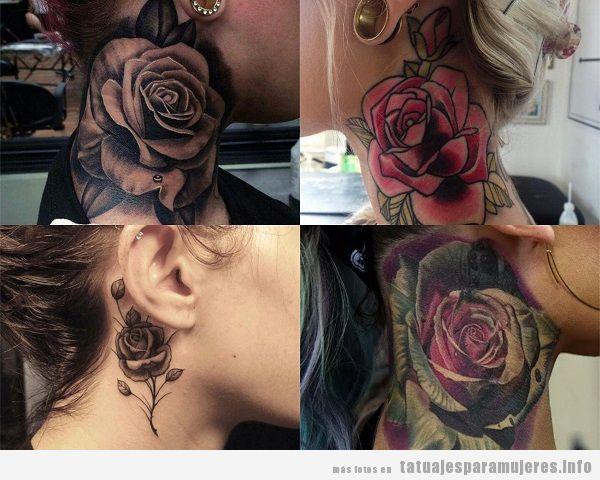 Tatuajes Para El Cuello tatuajes-mujer-cuello-rosas • tatuajes para mujeres
