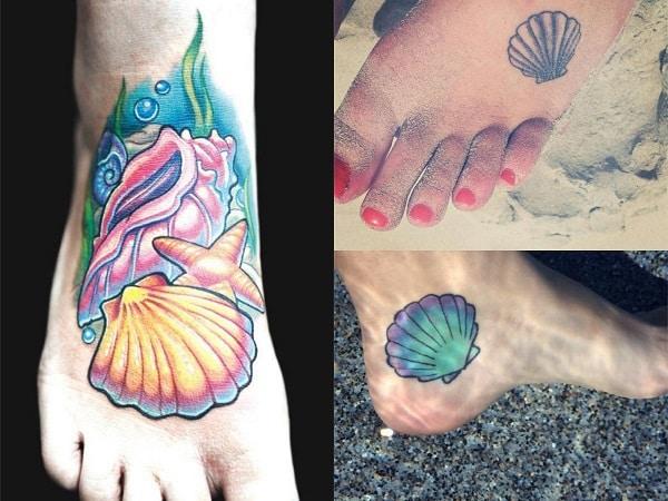 Tatuajes para mujer en el pie conchas marinas