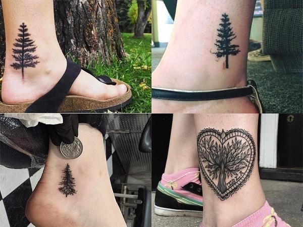 Tatuajes para mujer en el tobillo de árboles