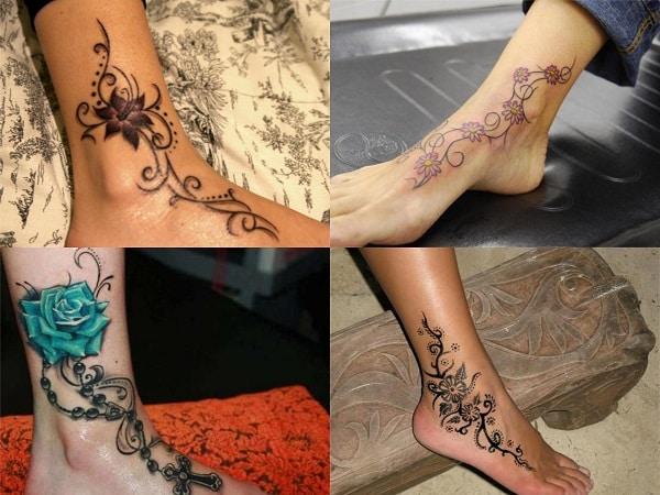 Tatuajes para mujer en el tobillo enredadera flores