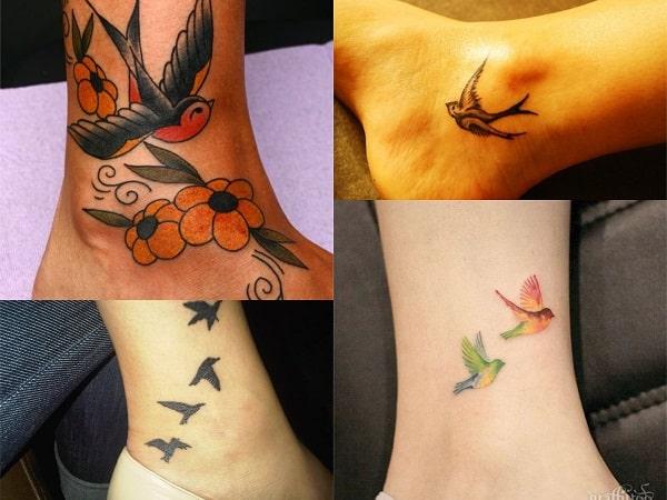 Tatuajes para mujer en el tobillo de pájaros