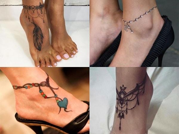 Tatuajes para mujer en el tobillo de tobillera