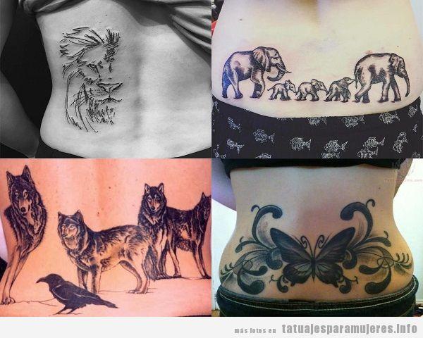 Tatuajes en la zona lumbar para mujer con diseño de animales