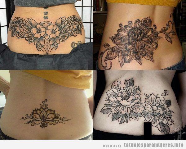 Tatuajes en la zona lumbar para mujer con diseño de flores
