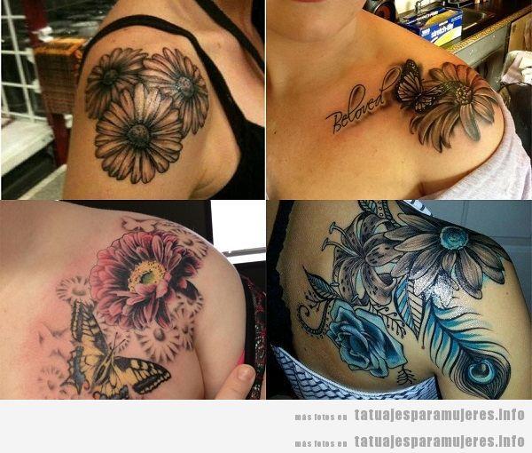 Tatuajes para mujeres en el hombro, margaritas