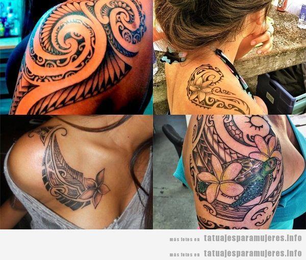 Tatuajes para mujeres en el hombro tribales maoríes