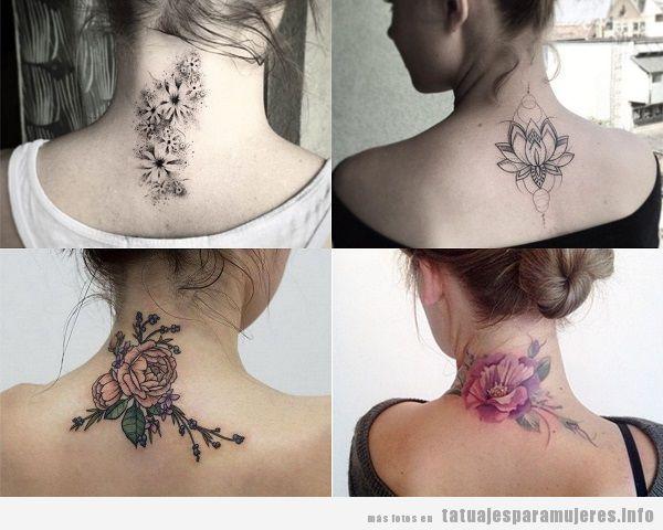 Tatuajes de flores en la nuca para mujer