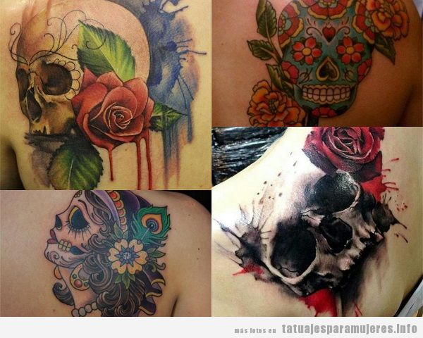 Tatuajes para mujer en el omóplato calaveras
