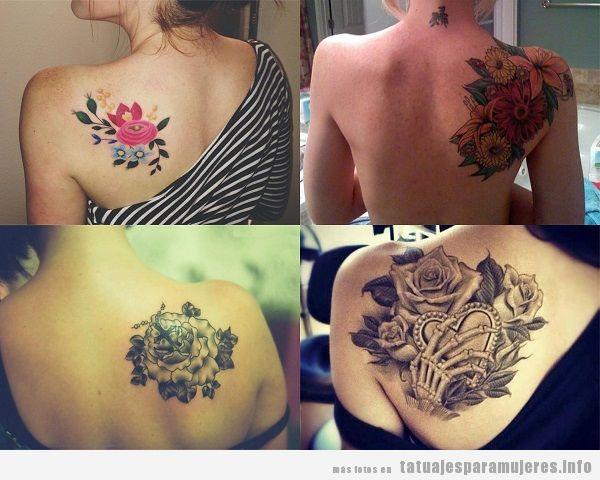 Tatuajes para mujer en el omóplato flores