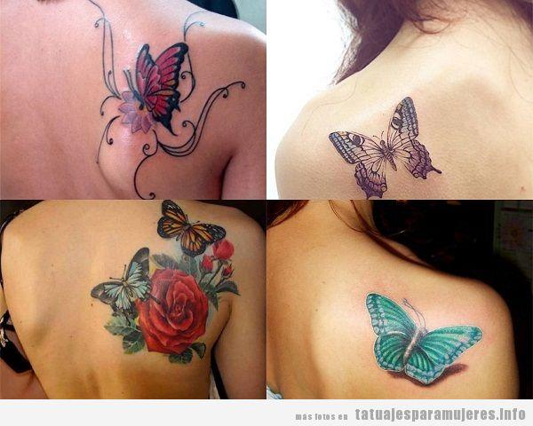 Tatuajes para mujer en el omóplato mariposas