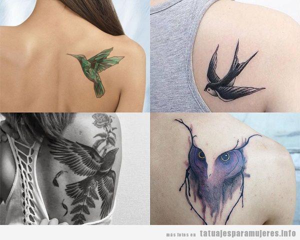 Tatuajes para mujer en el omóplato pájaros