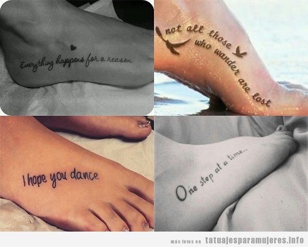 Tatuajes para mujer en el pie con frases