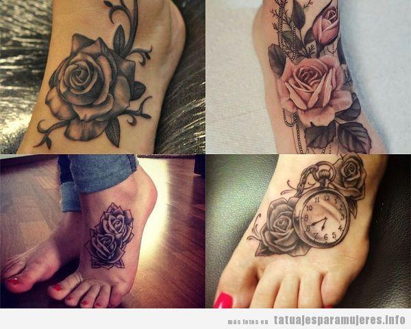 Tatuajes para mujer en el pie con rosas